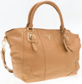 """Luxury Accessories:Accessories, Prada Tan Leather Shoulder Bag. Good to Very Good Condition. 12"""" Width x 11"""" Height x 7"""" Depth, 5"""" Handle Drop, 20"""" Should..."""