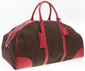 "Luxury Accessories:Bags, Prada Red Leather & Brown Canvas Travel Bag. Very GoodCondition. 22"" Width x 11"" Height x 12"" Depth, 5"" Handle Drop...."
