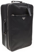 """Luxury Accessories:Travel/Trunks, Prada Black Tessuto Canvas & Saffiano Leather Trolley Suitcase. Very Good to Excellent Condition. 13"""" Width x 22"""" Heig..."""