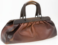"Gucci Brown Leather Doctor Bag with Wood Frame Good Condition 17"" Width x 7"" Height x 5"" Depth"