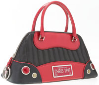 """Christian Dior Black & Red Leather Auto Bag Good Condition 12"""" Width x 7"""" Height x 5"""" Depth</..."""