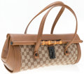 Luxury Accessories:Bags, Gucci Brown Leather & Classic Monogram Canvas Bullet Bag withBamboo Hardware . Very Good to Excellent Condition .15...