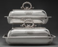 Silver Holloware, British:Holloware, A PAIR OF THOMAS ROBINS GEORGE III SILVER COVERED VEGETABLE SERVINGDISHES, London, England, circa 1811-1812. Marks: (lion p... (Total:2 Items)