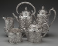 Silver Holloware, American:Tea Sets, A FIVE PIECE SAMUEL KIRK & SON SILVER TEA AND COFFEE SERVICE,Baltimore, Maryland, circa 1850. Marks: S. Kirk & Son,110Z... (Total: 5 )