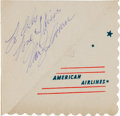 Movie/TV Memorabilia:Autographs and Signed Items, A Marilyn Monroe Signed Cocktail Napkin, Circa 1950s....