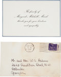 Movie/TV Memorabilia:Documents, A Margaret Mitchell Condolence Card, 1949....