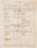 "Movie/TV Memorabilia:Documents, A Call Sheet From The First Day of Shooting ""Gone With The Wind.""..."