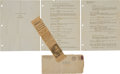 "Movie/TV Memorabilia:Documents, A Set of 'Test Scene' Pages from ""Gone With The Wind.""..."