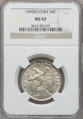 Chile, Chile: Republic 50 Centavos 1905 MS63 NGC,...