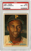 Baseball Cards:Singles (1950-1959), 1957 Topps Bob Clemente #76 PSA NM-MT 8. Seen here before hesettled into his role as superstar, Roberto Clemente was just ...
