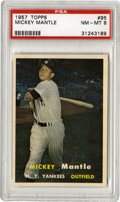 Baseball Cards:Singles (1950-1959), 1957 Topps Mickey Mantle #95 PSA NM-MT 8. High-quality image of theMick taking a cut, the NM-MT grade card here depicts th...