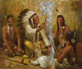 """Western Expansion:Indian Artifacts, AN ORIGINAL OIL PAINTING BY RICHARD HEADLEY - 'BUFFALO MEDICINE'30"""" X 36"""" - . This original oil by contemporary Californi..."""