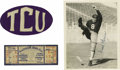 Football Collectibles:Others, 1930's Davey O'Brien Signed Photograph with TCU Ephemera. One of the toughest of all Heisman Trophy winners for autograph c...