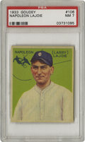 Baseball Cards:Singles (1930-1939), 1933 Goudey Napoleon Lajoie #106 PSA NM 7. Only the famous HonusWagner card of the T206 set could claim a more vast divide ...