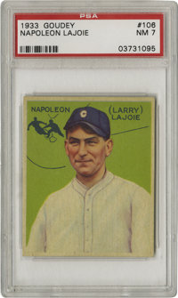 1933 Goudey Napoleon Lajoie #106 PSA NM 7. Only the famous Honus Wagner card of the T206 set could claim a more vast div...