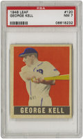 Baseball Cards:Singles (1940-1949), 1948-49 Leaf George Kell SP #120 PSA NM 7. Slugger George Kelltakes to bat in this colorful Leaf presentation. Perhaps it's...