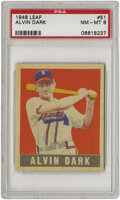 Baseball Cards:Singles (1940-1949), 1948-49 Leaf Alvin Dark SP #51 PSA NM-MT 8. Very little opportunityto cast stones at this sharp rookie from the '48 Leaf se...