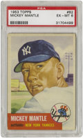 Baseball Cards:Singles (1950-1959), 1953 Topps Mickey Mantle #82 PSA EX-MT 6. Beautiful large-sizedportrait card featuring the legendary HOF outfielder of the...