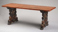 Furniture , A Spanish Baroque Style Walnut Trestle Table. Unknown maker, Spanish. Late 19th century. Walnut. Unmarked. 32 inches high ...