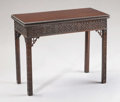 Furniture , A Chinese Chippendale Mahogany Flip Top Game Table. . Unknown maker, English. Circa 1780. Mahogany. Unmarked. 28.5 x 35 x 17...