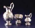 Silver Holloware, American:Coin Silver, An American Coin Silver Ewer, Creamer and Waste Bowl. Jones, Ball& Co., Boston, Massachusetts. Circa 1850. Silver. Marks:...(Total: 3 Items)