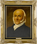 """Political:3D & Other Display (1896-present), John Quincy Adams and Louisa Adams Oil Portraits by Lawrence Williams. Each oil portrait is 16"""" x 20"""" and framed in gilt to ... (Total: 2 Item)"""