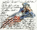 Autographs:Artists, James Montgomery Flagg Autograph Drawing/Letter Signed, ...