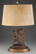 Lighting:Lamps, A BLACK FOREST CARVED WOOD BEAR TABLE LAMP WITH SHADE, 20th century. 34 inches high (86.4 cm) (to top of finial). PROPERTY...