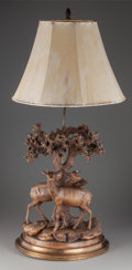 Miscellaneous:Lamps & Lighting, A BLACK FOREST CARVED WOOD DEER AND STAG LAMP, circa 1920. 45 x 18x 10 inches (114.3 x 45.7 x 25.4 cm). PROPERTY FROM THE...