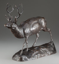 EDWARD KEMEYS (American, 1843-1907) Deer on Alert Bronze with brown patina 16-1/2 inches (41.9 cm
