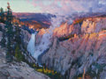 Fine Art - Painting, American, XIANGYUAN JIE (American, 20th Century). Golden Light,Yellowstone Lower Falls. Oil on canvas. 18 x 24 inches (45.7 x61....