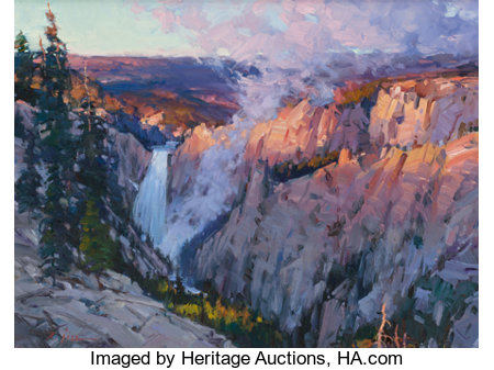 XIANGYUAN JIE (American, 20th Century) Golden Light, Yellowstone Lower Falls Oil on canvas 18 x 24 inches (45.7 x 61....