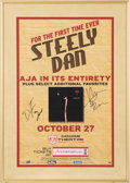 Music Memorabilia:Autographs and Signed Items, Steely Dan Signed Concert Poster (2009)....