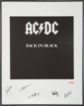 Music Memorabilia:Autographs and Signed Items, AC/DC Autographed Limited Edition Back In Black Print....