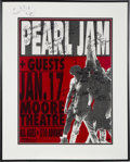 Music Memorabilia:Autographs and Signed Items, Pearl Jam Autographed Moore Theatre Concert Poster (1992)....