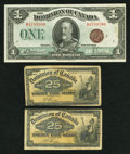 Canadian Currency: , DC-15b 25 Cents 1900, Two Examples. DC-25i $1 1923. ... (Total: 3notes)