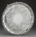 Silver Holloware, British, A S.C. YOUNGE & CO. SILVER FOOTED TRAY, Sheffield, England,1824-1825. Marks: (lion passant), (crwon), (duty mark),S.C.Y....