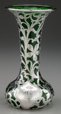Silver Holloware, American:Vases, AN ALVIN SILVER OVERLAY GLASS VASE, Providence, Rhode Island, circa1900. Marks: A, 925/1000, FINE, PATENTED, G387. 7-3...