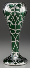 Silver Holloware, American:Vases, A MATTHEWS CO. SILVER OVERLAY GLASS VASE, Newark, New Jersey, circa1910. Marks: (M-sword), 5094, 999/1000. 12-1/4 inche...
