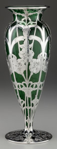 Silver Holloware, American:Vases, AN ALVIN SILVER OVERLAY GLASS VASE, Providence, Rhode Island, circa1900. Marks: A, 925/1000 FINE, G, 323A. 12 inches hi...