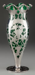 Silver Holloware, American:Vases, AN ALVIN SILVER OVERLAY GLASS VASE, Providence, Rhode Island, circa1900. Marks: A, 925/1000 FINE, V, 613, 3, G. 12 inc...