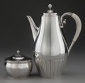 Silver & Vertu:Hollowware, A GEORG JENSEN COSMOS PATTERN SILVER AND IVORY COFFEE POT AND COVERED SUGAR, Designed by Johan Rohde, Copenhagen... (Total: 2 )