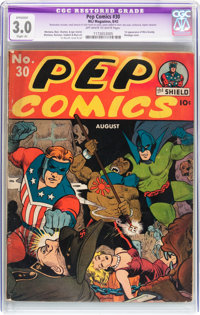 Pep Comics #30 (MLJ, 1942) CGC Apparent GD/VG 3.0 Slight (A) Off-white to white pages