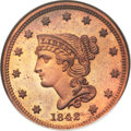 Proof Large Cents, 1842 1C Small Date, N-1, R.7 as a Proof, PR65 Red NGC. Our EACGrade PR65. ...