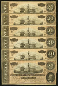 Confederate Notes:1864 Issues, T67 $20 1864 PF-10 Cr. 510 Six Consecutive Examples.. ... (Total: 6 notes)