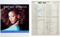 """Music Memorabilia:Autographs and Signed Items, Whitney Houston Signed Billboard Chart with """"Greatest Love of All""""at Number One (1986). ... (Total: 2 )"""