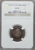 Colombia, Colombia: Ferdinand VII Real 1810 P-JF XF45 NGC,...