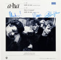"Music Memorabilia:Autographs and Signed Items, A-ha Signed ""Take On Me"" 12"" Single Cover (1984). ..."