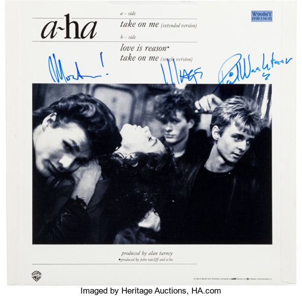 a ha signed take on me 12 single cover 1984 music lot