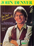 Music Memorabilia:Autographs and Signed Items, John Denver Signed Large Color Promo Ad for Some Days AreDiamonds (1981)....